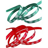 iSuperb Christmas Ribbon with Snowflake Red and Green Each 10 Meters Long