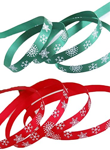 iSuperb Christmas Ribbon with Snowflake Red and Green Each 10 Meters -