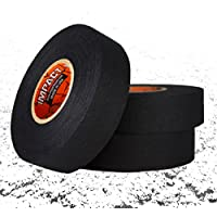 """IMPACT Athletic Tapes – Black Athletic Tape 1"""" x 25 Yards (3 Pack) (Hockey & Lacrosse Stick Tape) 50/50 Blend Polyester & Cotton for Durability - 100% All Natural Rubber Adhesive – Hypoallergenic"""