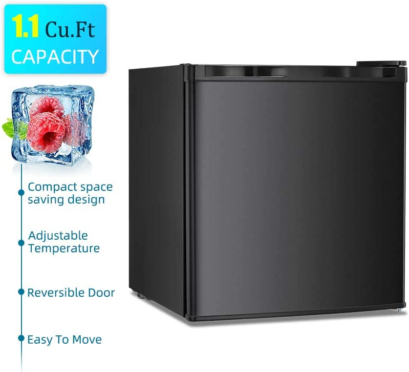 Black, 1.1 cu.ft Kismile 1.1 Cu.ft Upright Freezer with Compact Reversible Single Door,Removable Shelves/Free Standing Mini Freezer with Adjustable Thermostat for Home//Kitchen//Office