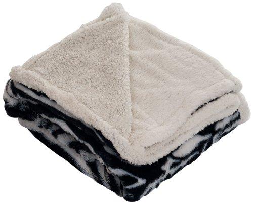 Lavish Home Throw Blanket, Fleece/Sherpa, Zebra