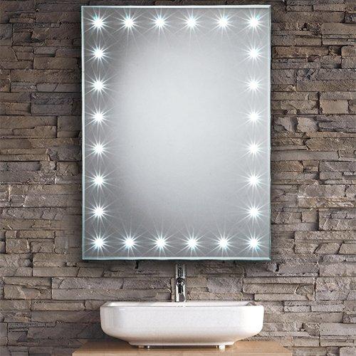 LED Mirrors Luna Border Home Standard Horizon Battery Powered 500mm x 700mm Illuminated LED Bathroom Mirror Light