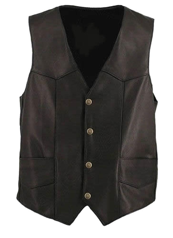 6df0294e75a42 Cow Cow Cow Black Classyak Men's Fashion Genuine Leather Moto Vest bcb35b