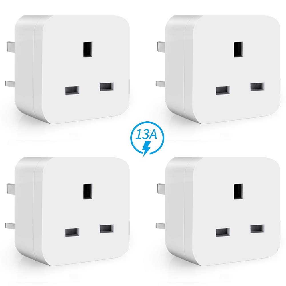 WiFi Smart Plug Mini ANOOPSYCHE Alexa Plugs, Energy Monitoring Timer Remote Control Plug Socket No Hub Required, 13A Smart Socket Compatible with Alexa Google Assistant IFTTT (UK Plug 4 Pack)