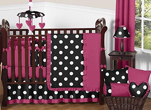 Sweet Jojo Designs Modern Pink, Black and White Hot Dot Designer Baby Girl Bedding 9 pc Crib Set