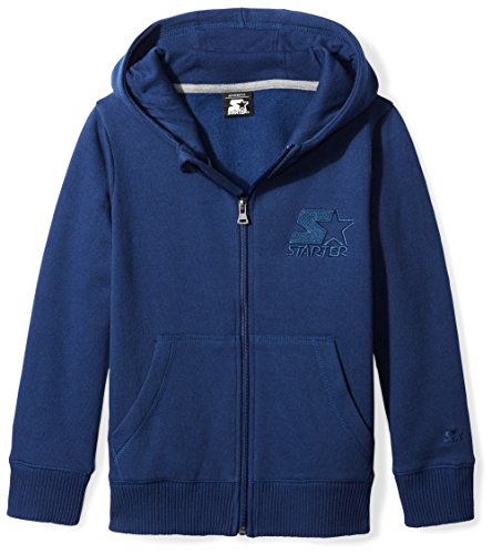 Blue Embroidered Hooded Sweatshirt - Starter Boys' Zip-up Embroidered Logo Hoodie, Prime Exclusive, Team Navy, M (8/10)