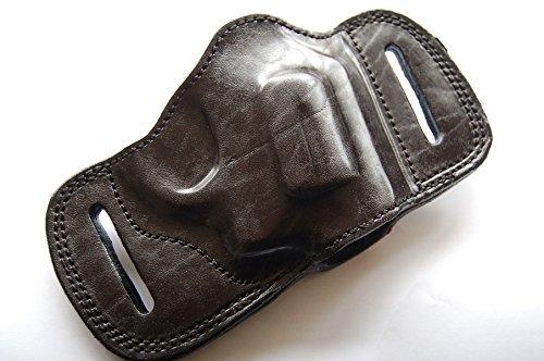 (Cal38SBT Taurus 605 357 Magnum Snub Nose Revolver Leather Belt Slide Handcrafted Holster Black Tan (BLACK))