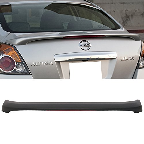 Trunk Spoiler Fits 2007-2012 Nissan Altima | OE Style ABS Unpainted Black With LED Brake Light Trunk Boot Lip Spoiler Wing Deck Lid By IKON MOTORSPORTS | 2008 2009 2010 2011
