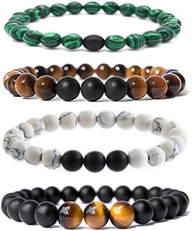Bliqniq 4 Pezzi 8MM Pietra Naturale Lava Bracciale Perline per Uomo Donne energia Terapia Yoga Bracciali di Delazione di Amore delle Coppie Elastico