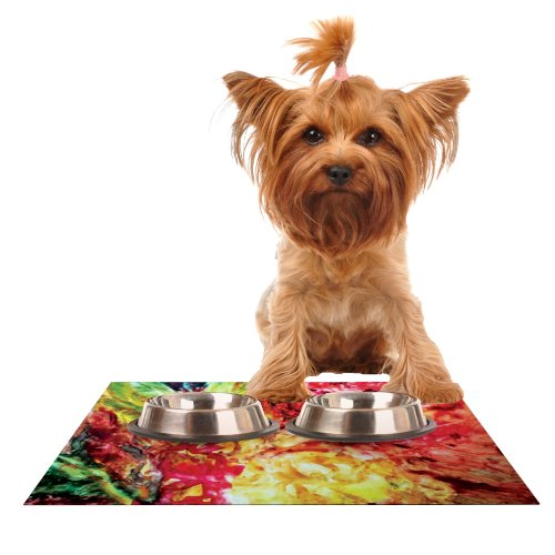 KESS InHouse Mary Bateman Passion Flowers I  Feeding Mat for Pet Bowl, 18 by 13-Inch