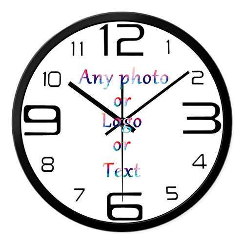 Use Any Photo or Logo Custom Wall Clock Silent Metal Non-Ticking 10 Inch or 12 Inch or 14 Inch White Black Silver Customized Personalized Decorations or Gifts