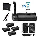 Bluetooth Battery Grip Bundle F/ Canon EOS 7D Mark II Camera-UltraPro Bundle Includes:Vertical Battery Replacement Grip for BG-E16, 4-Pk LP-E6/LP-E6N Replacement Long-Life Batteries,Charger and More