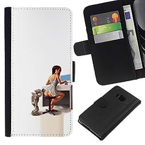 Protector de cuero de la PU de la cubierta del estilo de la carpeta del tirón BY RAYDREAMMM - HTC One M7 - Secretario Sexy