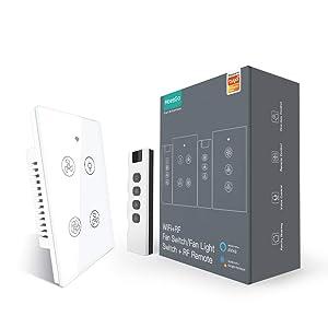 MOESGO WiFi RF Smart Ceiling Fan Light Switch,Relay Status Optional,Work withSmart Life/Tuya APP RF Remote Speed Control Speed Control Alexa Google Home