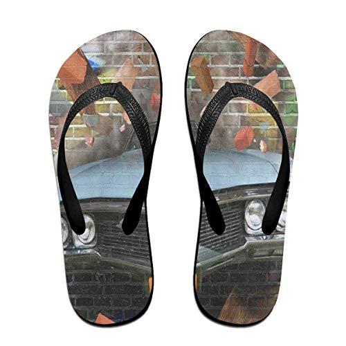 Flip Flops Graffiti Crashing Automobile On A Brick Wall Women's Outdoor Slippers Brazil Sandals for Man