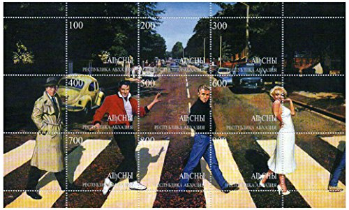 Fab 4: Humphrey Bogart, Elvis Presley, James Dean, and Marilyn Monroe on Abbey Road, 9 Stamp Sheet, Abkhazia 1999