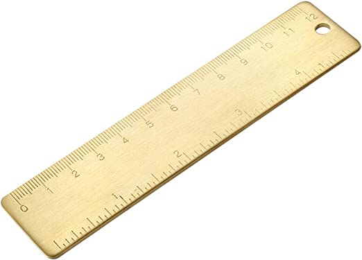 Antique Brass Copper Straight Ruler Measure Tool Thicken 18 cm Collection