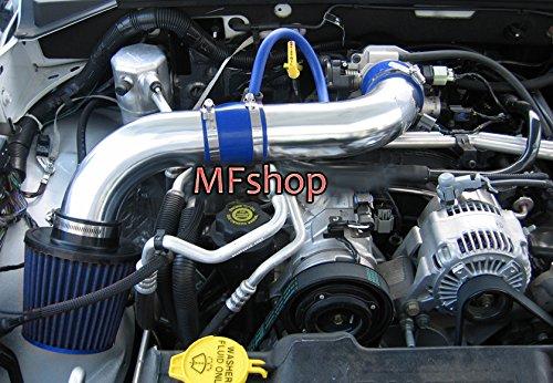 - 2pcs Design 2003 2004 2005 2006 2007 2008 2009 2010 Dodge Dakota 4.7L V8 Cold Air Intake Filter Kit System (Blue Filter & Accessories)