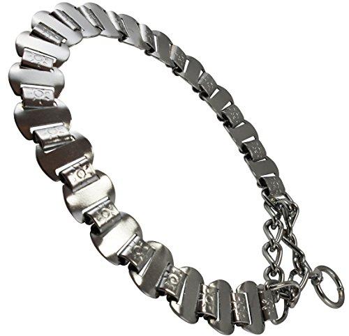 Image of Metal Plates Martingale Dog Collar 3mm Link Chrome (18