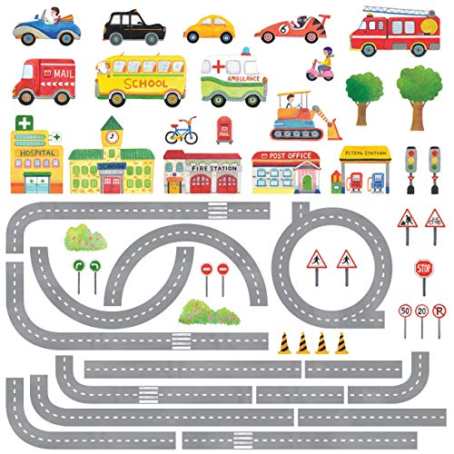 DECOWALL DAT-1404N The Road and Cars Kids Wall Decals Wall Stickers Peel and Stick Removable Wall Stickers for Kids Nursery Bedroom Living Room ()