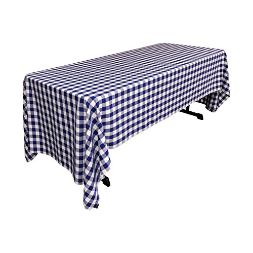 LA Linen Checkered Tablecloth, 60 by 120-Inch, Royal Blue ()
