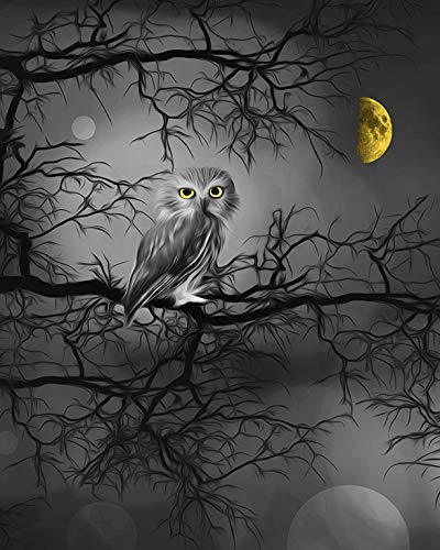 Owl Wall Art, Tree Moon, Bedroom Yellow Gray Decor *8x10 inch Picture with 11x14 White Mat** Ready to Place Inside Any Standard Picture Frame -