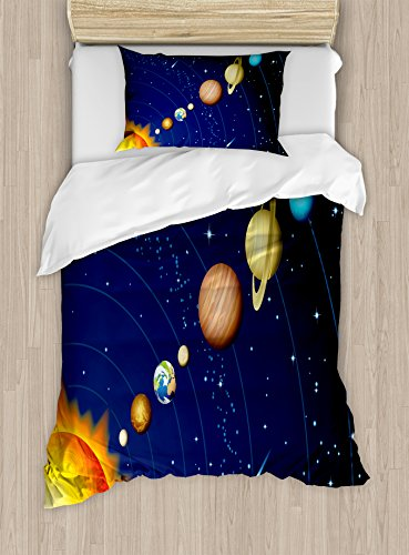 Space Duvet Cover Set by Ambesonne, Solar System with Sun Uranus Venus Jupiter Mars Pluto Saturn Neptune Image, 2 Piece Bedding Set with Pillow Sham, Twin / Twin XL, Dark Blue Orange by Ambesonne