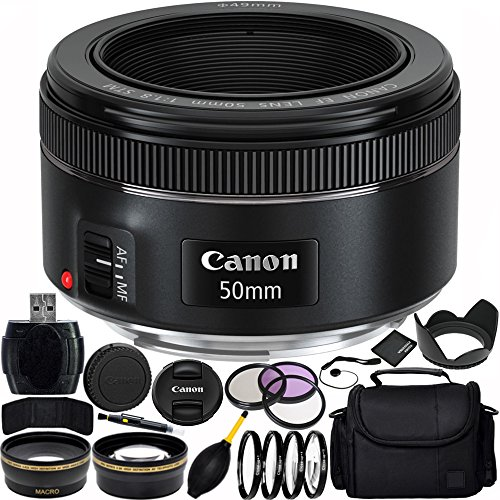 - Canon EF 50mm f/1.8 STM Lens Bundle with Manufacturer Accessories & Accessory Kit for EOS 7D Mark II, 7D, 80D, 70D, 60D, 50D, 40D, 30D, 20D, Rebel T6s, T6i, T5i, T4i, SL1, T3i, T6, T5, T3, T2i, T1i