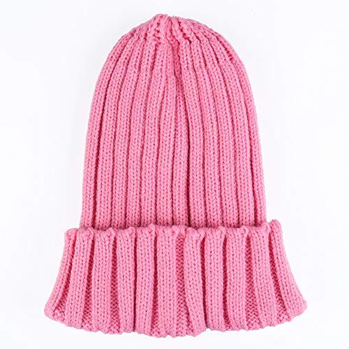WGFGQX Unisexo Otoño E Invierno Sombrero Tejido, Color Caramelo Fluorescente Sombrero Cálido,Lightpurple pink