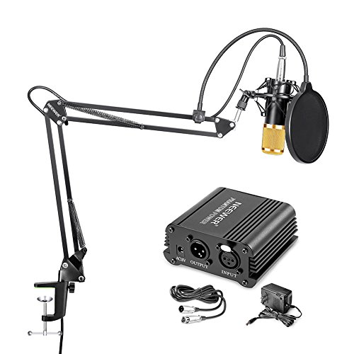 Neewer NW-800 Condenser Microphone (Gold) + Suspension Boom Scissor Arm Stand+ Mounting Clamp+ Pop Filter+ 48V Phantom Power Supply