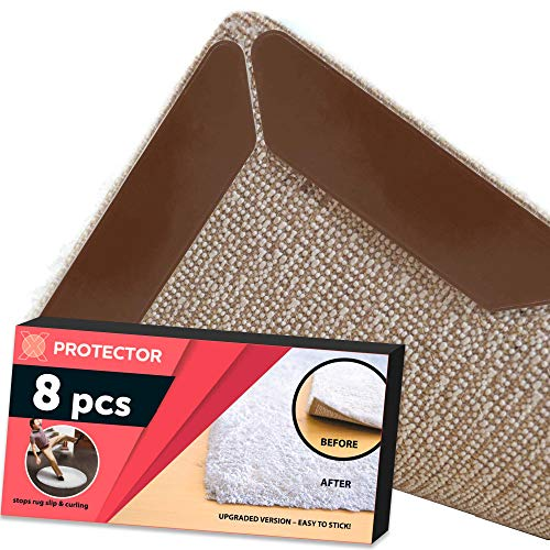 - Rug Gripper X-PROTECTOR 8 Pack – Best Rug Grippers - Carpet Tape - Anti Curling Carpet Pad. Keeps Your Rug in Place & Makes Corners Flat. Premium Carpet Gripper – Anti Slip Rug Pad for Rug Non Slip!