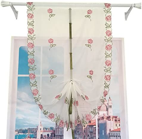 ZHH 1 Panel Pastoral Style Tie-Up Roman Curtain Pink Rose Embroidered Balloon Shade 33 by 98-Inch, Green Ribbon