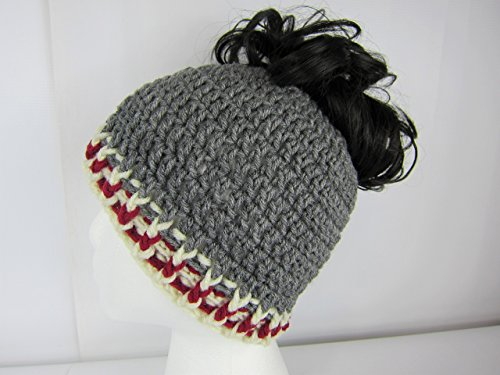 Messy Bun Hat, grey burgandy creme, Crochet Messy Bun Beanie, Crochet Pony Tail Hat, Runner's hat, cheerleaders hat, Womens messy bun hat, teen ponytail hat, Juniors, Adult winter hat, Handmade