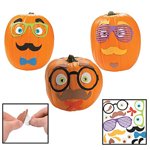 Funny Foam Mustache Pumpkin Decorating Craft Kit (Makes 12) - Halloween (Wholesale Pumpkin)