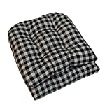 Set of 2 - Universal Tufted U-shape Cushions for Wicker Chair Seat - Black Plaid / Country Checkered / Checkerboard - Indoor Cotton Fabric