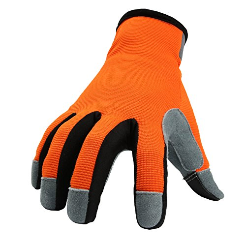 OZERO Leather Work Gloves with Genuine Deerskin Leather Palm and Sensitive Touch Screen Fingertips for Work, Gardening, DIY, Mechanics - Perfect for Women (OrangeRed,Small)
