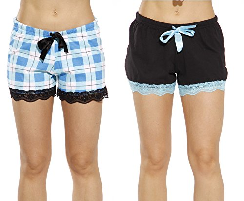 - 6334-10019-3X Just Love Womans Pajamas Shorts - PJs - Sleepwear (Pack of 2),Black - Aqua Plaid (Pack of 2),3X