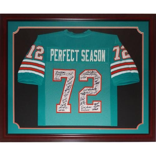 1972 Miami Dolphins Team (1972?Miami Dolphins Undefeated Team Autographed (Perfect Season #72) Deluxe Framed Custom Jersey - JSA - 27 signatures)