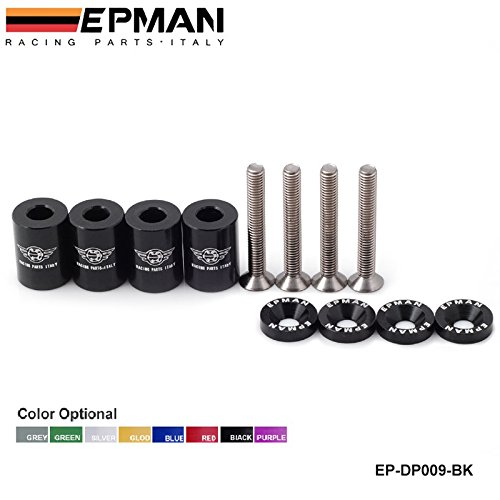 EPMAN 1' Billet Hood Vent Spacer Riser Kits For All Turbo/Engine/Motor Swap 6MM (Black) RUIAN EP INTERNATIONAL TRADE CO. LTD