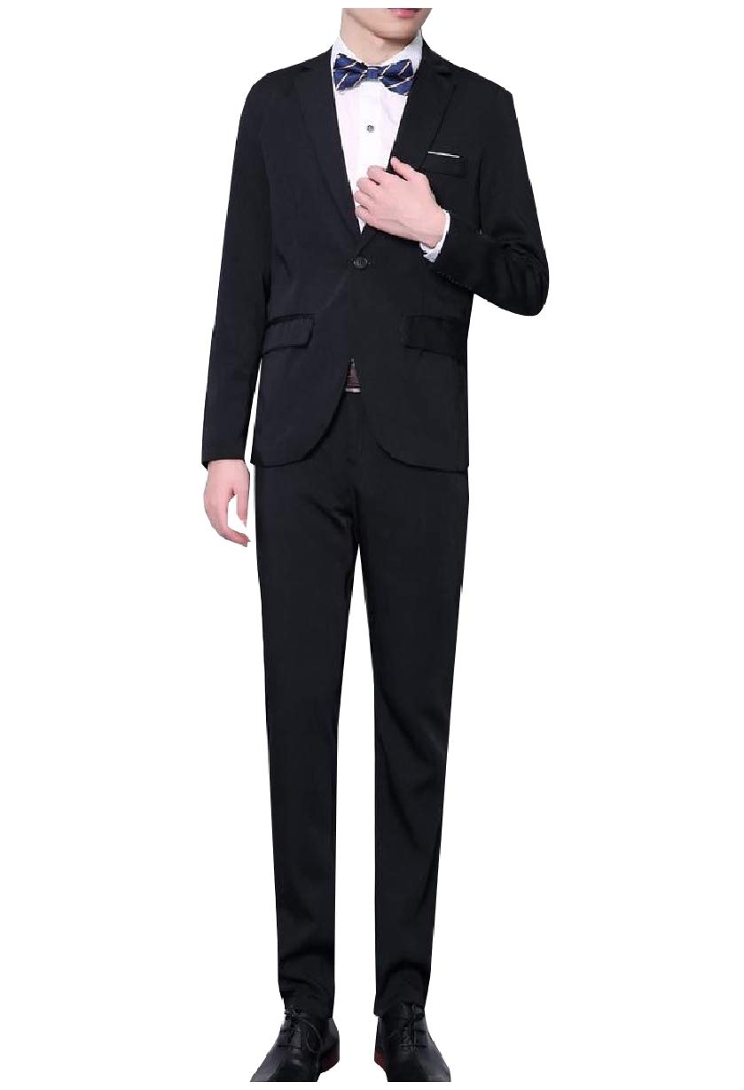 Mfasica Mens Slim Tailoring 2pcs Set Suit Casual/Formal/Wedding Tuxedo Black XL