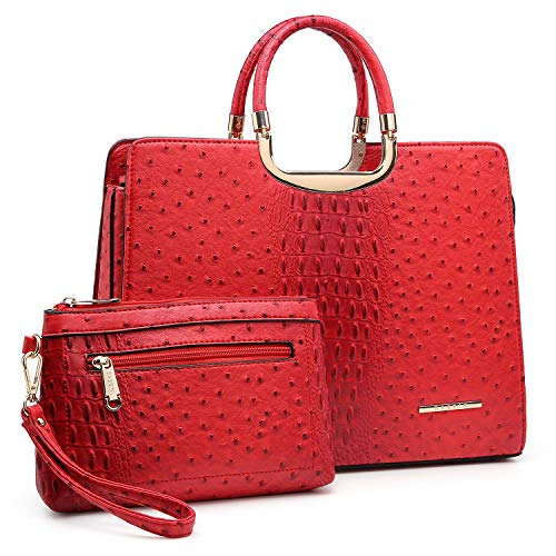 Dasein Women's Purses and Handbags Shoulder Bags Ladies Tote Bags Ostrich Satchels for Women with Wallet (5-ostrich red wallet set)