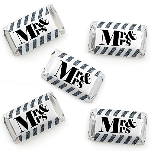 (Mr. & Mrs. - Silver - Mini Candy Bar Wrapper Stickers - Wedding or Bridal Shower Small Favors - 40 Count)