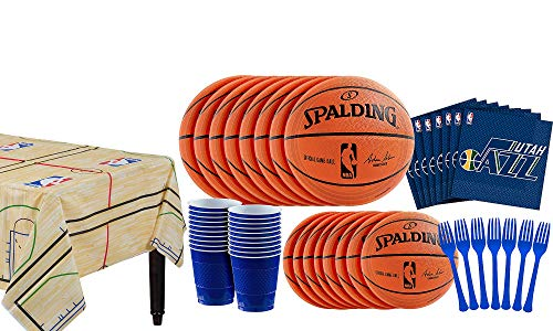 Party City Utah Jazz Party Kit 16 Guests, Includes Table Cover, Plates, Napkins and More