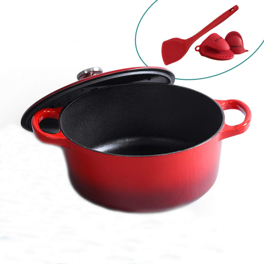 M-cooker 4.5 Quart Enameled Cast Iron Pot with Self Basting Lid,Classic Ruby red Enamel Dutch Oven