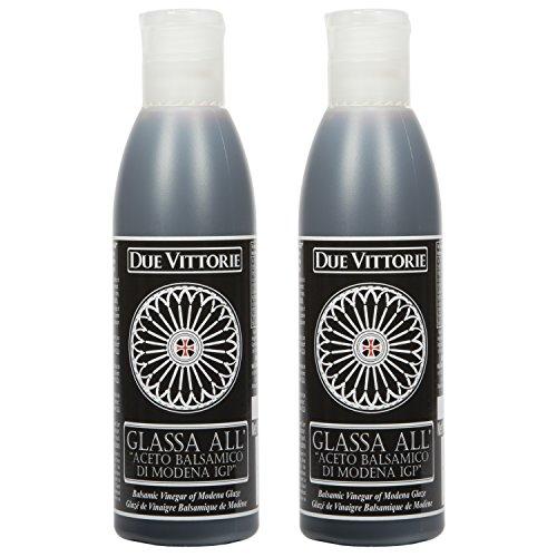 (Due Vittorie Italian Balsamic Glaze Crema All Aceto Balsamico Di Modena I.G.P. Gluten Free Balsamic reduction 8.45 oz bottle (2)