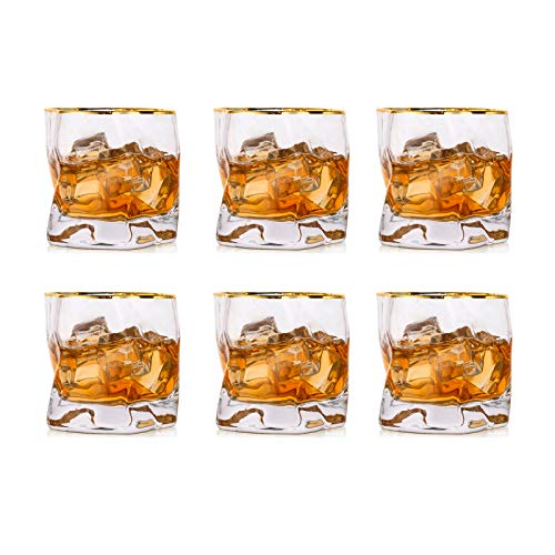 Irregular Whiskey Glasses Clear and Gold Rim Set of 6 Scotch Glass 8.45 OZ Whisky Glass Modern Look for Dad, Husband…