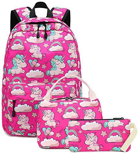 Backpack for School Girls Teens Bookbag Set Kids School Bag 15 inches Laptop Daypack (Rose Pink Unicorn Set)