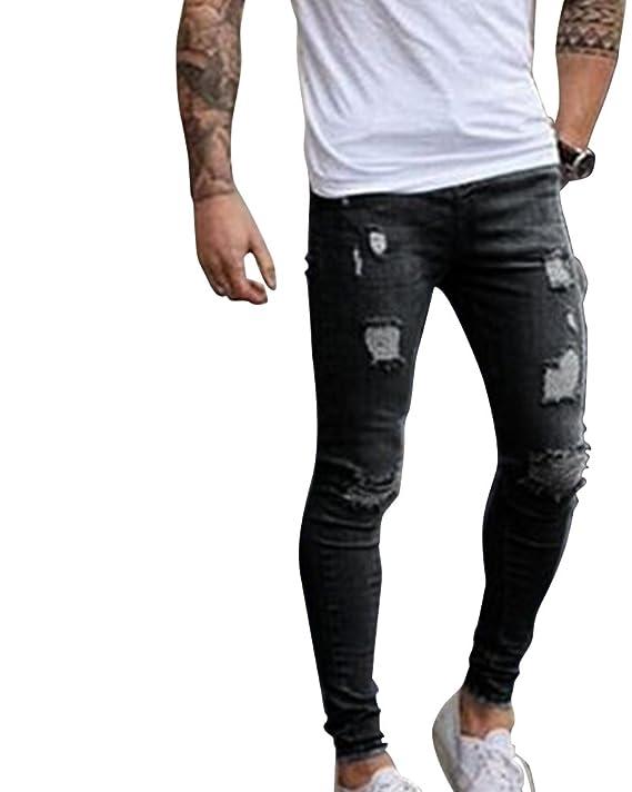 Pantalones de hombre Elástico Ripeado Motocicleta Jeans Destruido Rotos Ajustado vaqueros MZ8WdvBk0