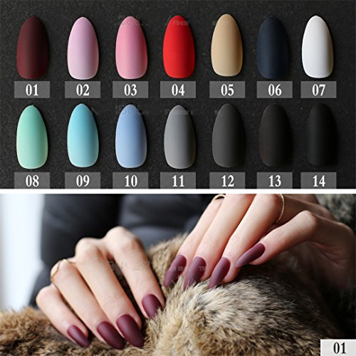 Matte False Short Pointed Soft Pink Nude Red Black Blue Fake Stiletto Nails Full Cover Pure Colour Candy Purple Khaki White (Purple And Black Halloween Nail Designs)