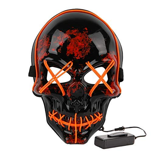 MeiGuiSha Skull LED Halloween Scary Mask Cosplay Led Costume Mask EL Wire Light up for Halloween Festival Party